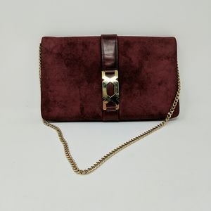 Vtg Morris Moskowitz Burgundy Gold Chain Purse